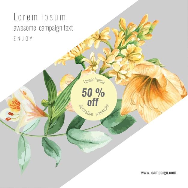 Wiosna ogólnospołeczni środki obramiają świeżych kwiaty, wystrój karta z kwiecistym kolorowym ogródem, ślub, zaproszenie Darmowych Wektorów