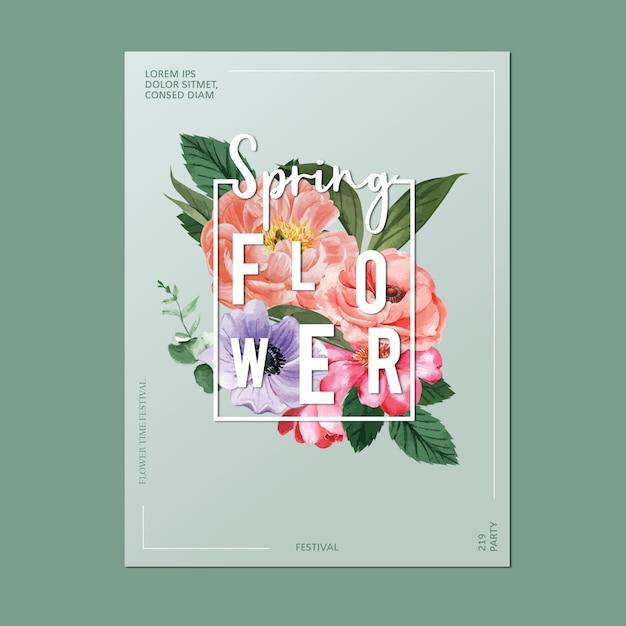Wiosna Plakatowi świezi Kwiaty, Wystrój Karta Z Kwiecistym Kolorowym Ogródem, ślub, Zaproszenie Darmowych Wektorów