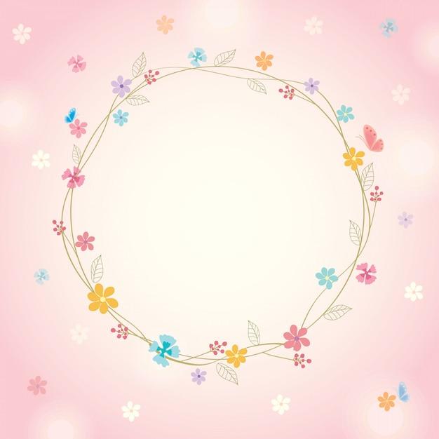 Wiosna Różowy Tło Premium Wektorów