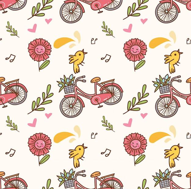 Wiosny bezszwowy tło z bicyklem, kwiatem i śpiewackim ptakiem Premium Wektorów