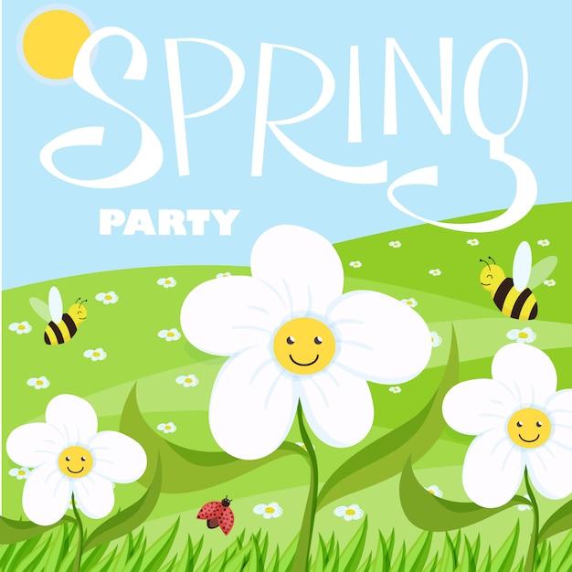 Wiosny kreskówki partyjny krajobraz z drzewami i chmurami Premium Wektorów