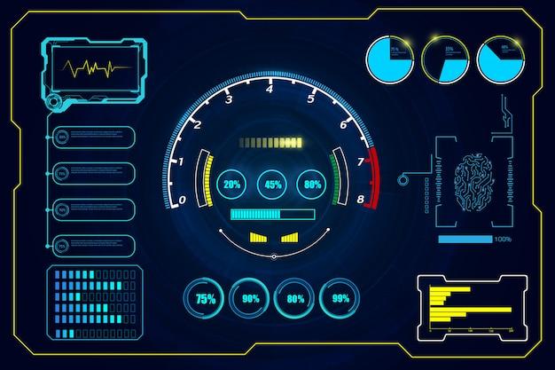 Wirtualne koło hud gui elementy futurystyczne tło Premium Wektorów