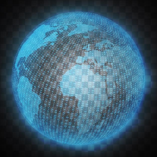 Wirtualny hologram planety ziemia Premium Wektorów
