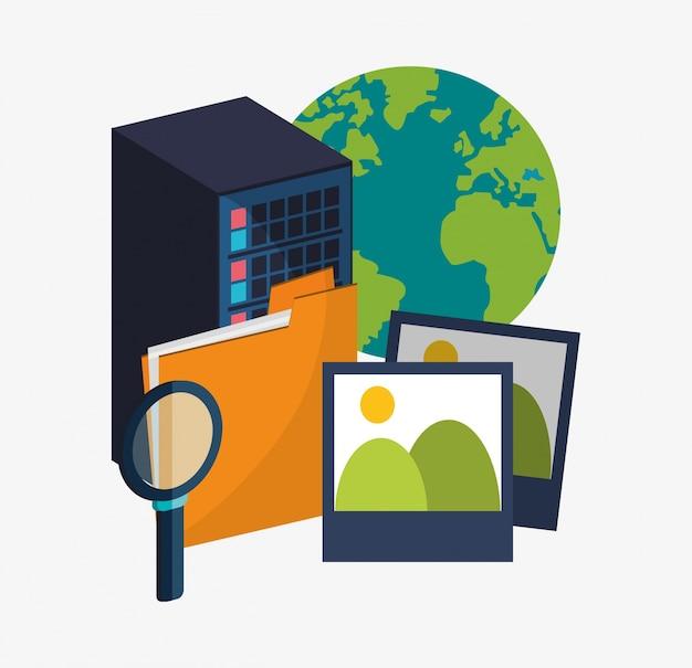 Wirtualny Serwer Plików W Centrum Serwisowym Premium Wektorów