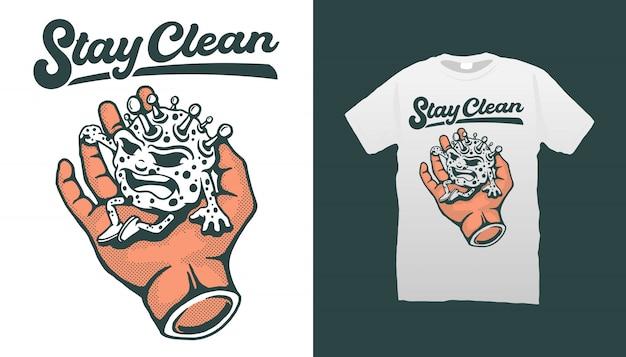 Wirus Corona Siedzący Pod Ręką Z Cytatem Stay Clean Tshirt Design Premium Wektorów