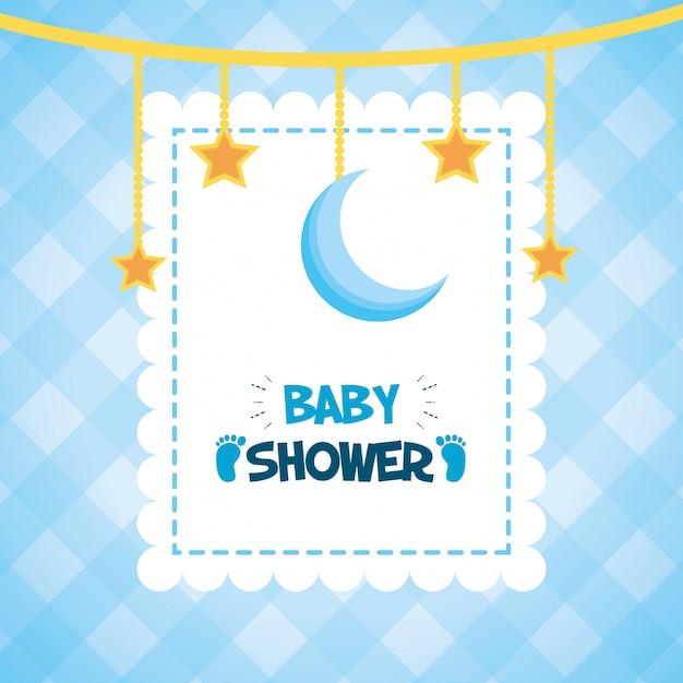 Wiszące gwiazdy i księżyc na baby shower Darmowych Wektorów