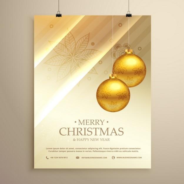 Wiszące Złote Kulki Christmas Dekoracji Ulotka Szablon Darmowych Wektorów