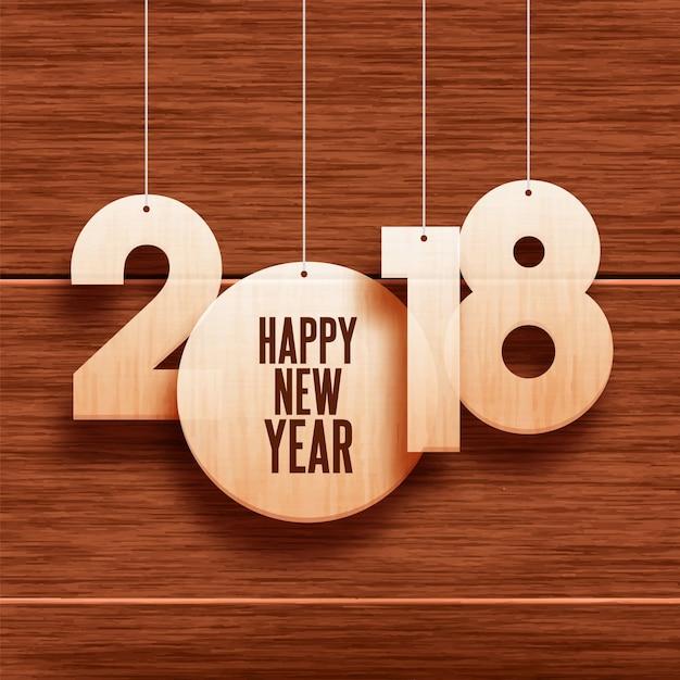 Wiszący Tekst 2018 Na Drewniane Tła Na Nowy Rok Premium Wektorów