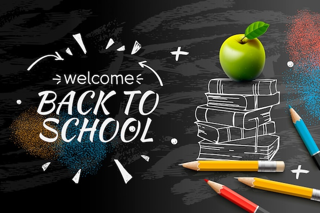 Wita Z Powrotem Szkoły Doodle Na Czarnym Chalkboard Tle ,. Premium Wektorów