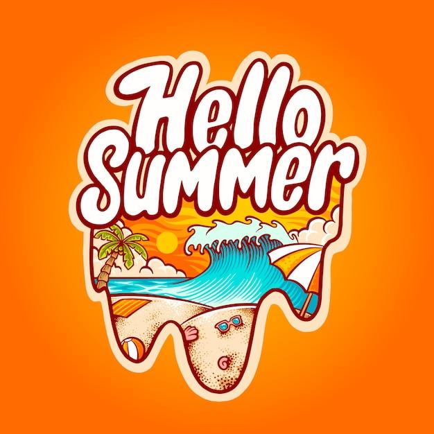 Witaj Ilustracja Letniej Plaży Premium Wektorów