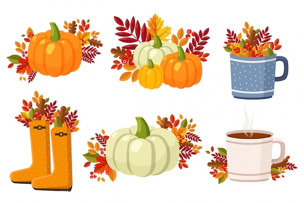 Witaj Jesień, Zestaw Kompozycji Płaskich Elementów Jesiennych, Kolorowe Liście, Dynia, Filiżanka Herbaty, Jesienne Buty, Parasol, Pies, Grzyby I Latarnia Uliczna Premium Wektorów
