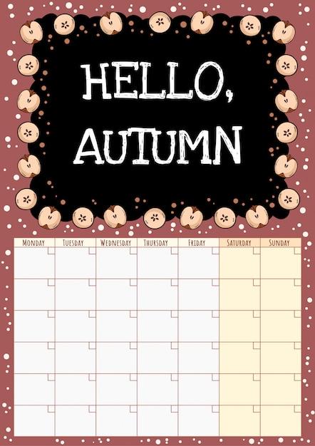 Witaj, jesieni. kalendarz miesięczny tablica z elementami przeciętymi na pół jabłka. Premium Wektorów
