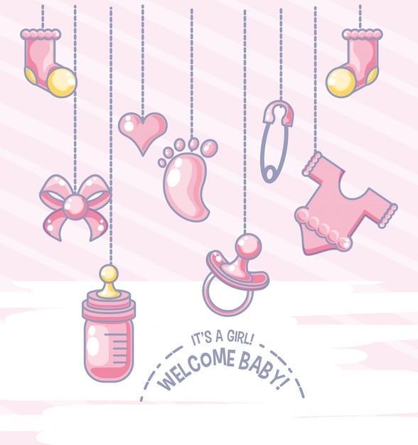Witaj karta baby shower z przedmiotami dla dziewczynki wisi Premium Wektorów
