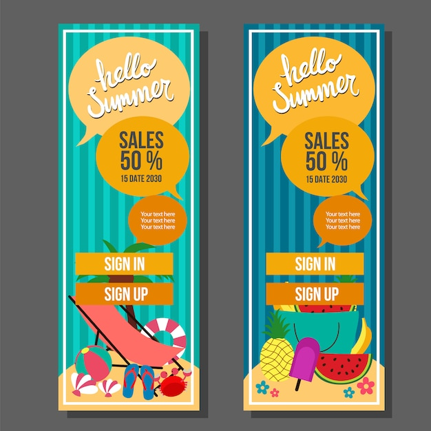 Witaj lato pionowy szablon transparent rocznika podróży i pływać ilustracji wektorowych Premium Wektorów