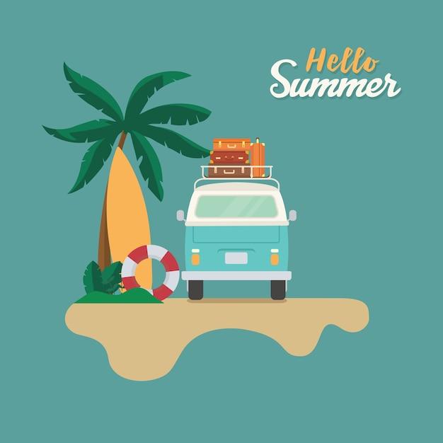 Witaj Lato, Płaska Plaża Z Przyczepą Kempingową Ze Stosem Walizki, Piasku, Deski Surfingowej I Palmy Premium Wektorów