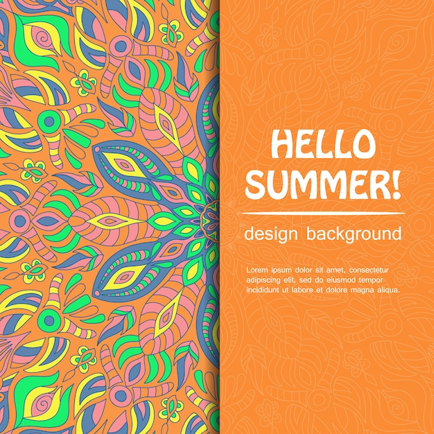 Witaj lato z projektem mandali. pochodzenie etniczne. Premium Wektorów