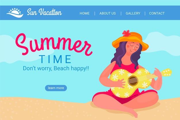 Witaj Letnia Strona Docelowa Z Kobietą Na Plaży Grającą Na Ukulele Darmowych Wektorów