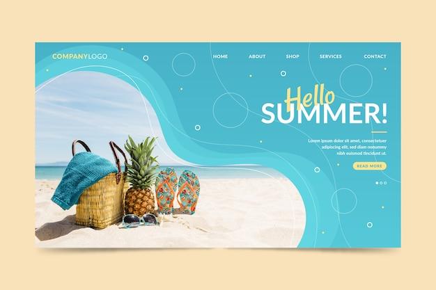 Witaj Letnia Strona Docelowa Ze Zdjęciem Plaży Darmowych Wektorów