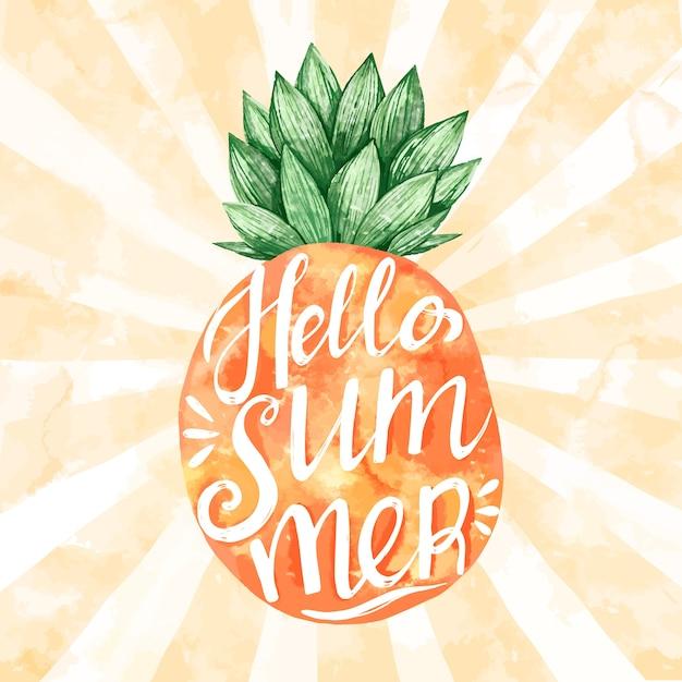Witaj Letnia Wiadomość Z Akwarela Ananasem Darmowych Wektorów