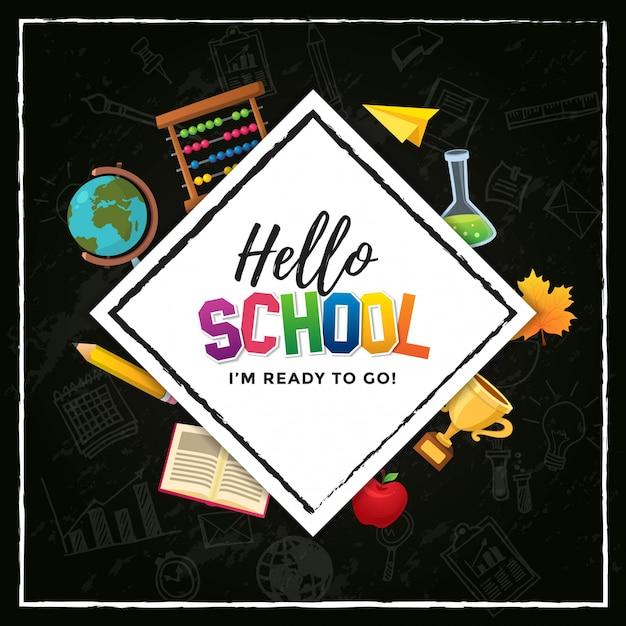 Witaj School, Jestem Gotowy Do Druku Projekt Plakatu Premium Wektorów