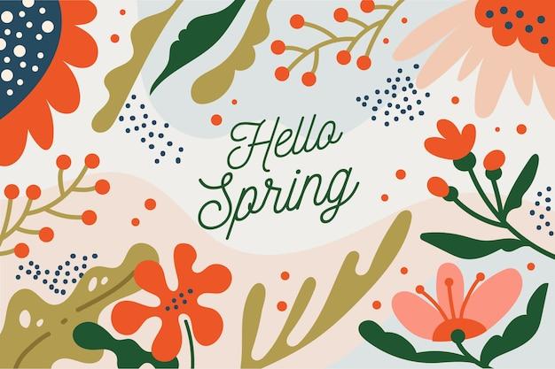 Witaj Styl Wiosny Napis Z Kwiatami Darmowych Wektorów
