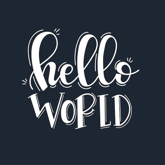 Witaj świecie Motywacyjny Cytat Wyciągnąć Rękę. Premium Wektorów