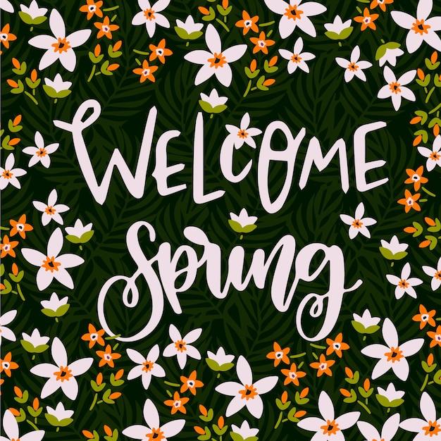Witaj Tło Wiosna Napis Darmowych Wektorów