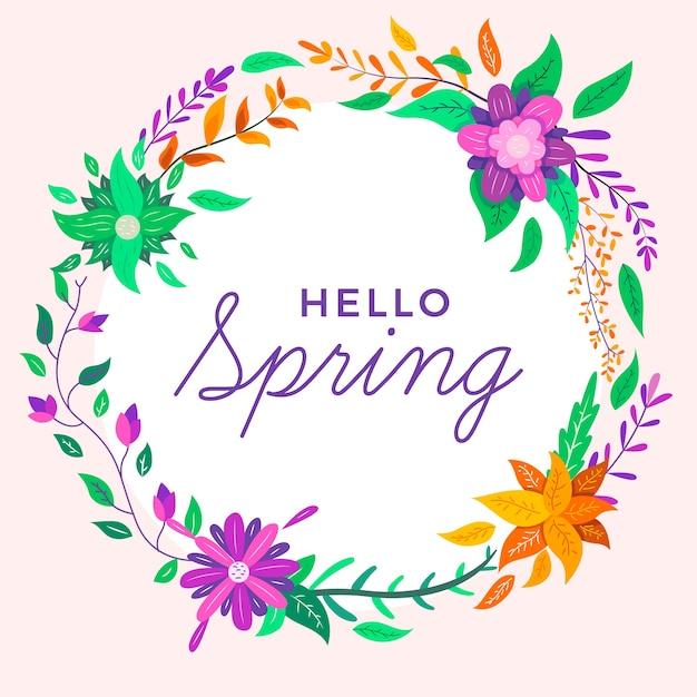Witaj Tło Wiosna Z Kwiatami Darmowych Wektorów