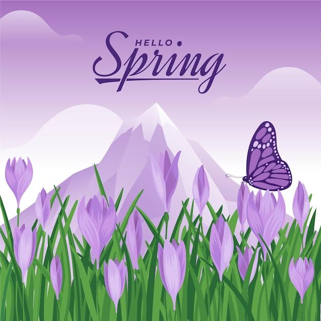 Witaj Tło Wiosna Darmowych Wektorów