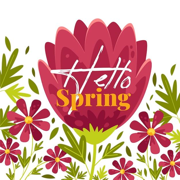 Witaj Wiosenna Tapeta Kwiatowy Darmowych Wektorów