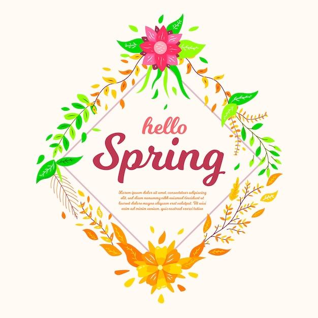 Witaj Wiosenna Tapeta Z Kwiatami Darmowych Wektorów