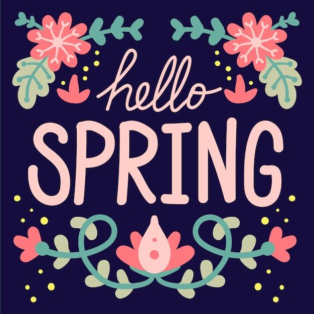 Witaj Wiosenna Tapeta Z Napisem Darmowych Wektorów