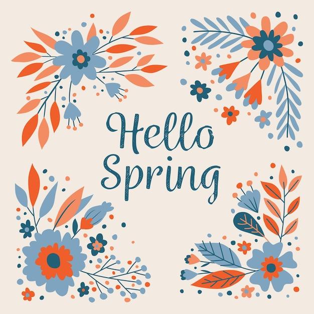 Witaj Wiosenna Tapeta Darmowych Wektorów
