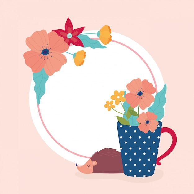 Witaj Wiosenne Kwiaty Jeż W Wazon Ozdoba Szablon Premium Wektorów