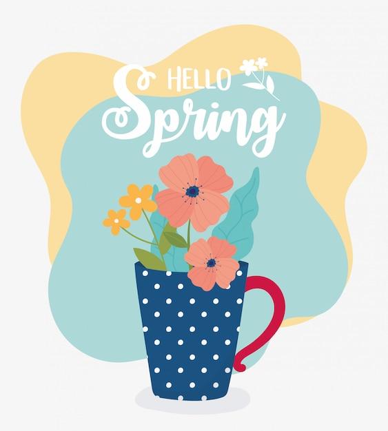 Witaj Wiosenne Kwiaty W Wazonie Ozdoba Ornament Premium Wektorów