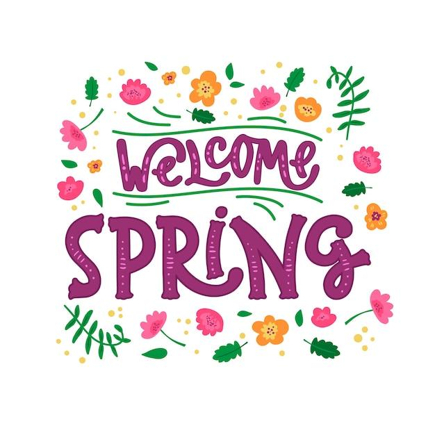 Witaj Wiosenny Napis Z Kwiatami Darmowych Wektorów