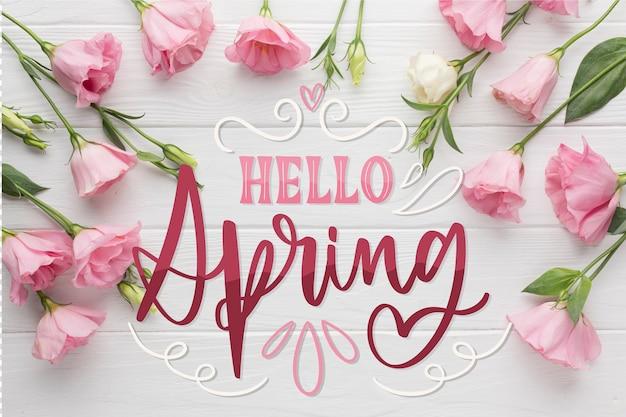Witaj Wiosenny Napis Z Pięknymi Różowymi Różami Darmowych Wektorów
