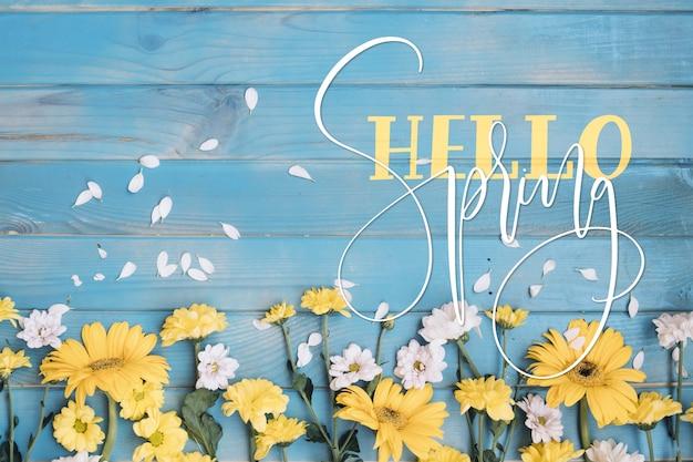 Witaj Wiosenny Napis Ze Zdjęciem Darmowych Wektorów