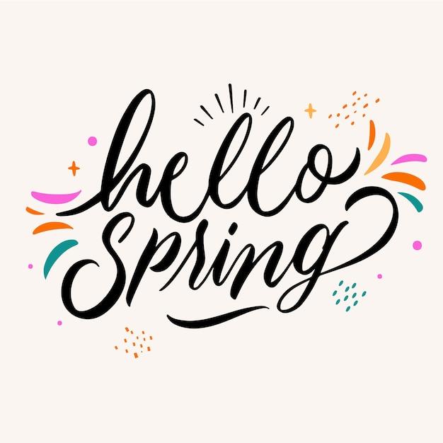 Witaj Wiosenny Napis Darmowych Wektorów