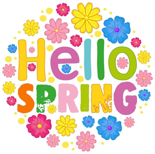 Witaj Wiosenny Szablon Tekstu Darmowych Wektorów