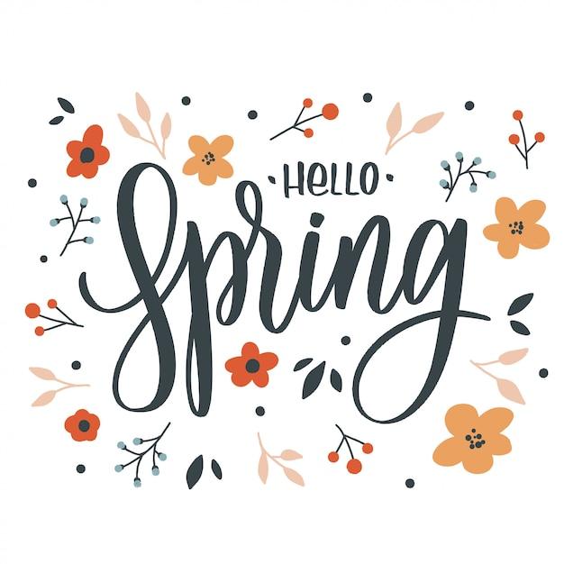 Witaj Wiosna Napis Napis Z Kwiatami. Karta Miłości Premium Wektorów
