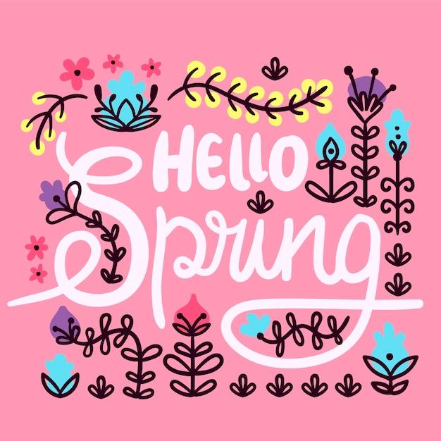 Witaj Wiosna Napis Tło Darmowych Wektorów