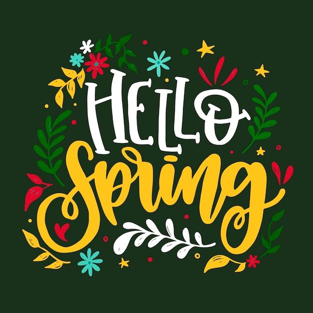 Witaj Wiosna Napis Z Liśćmi Darmowych Wektorów