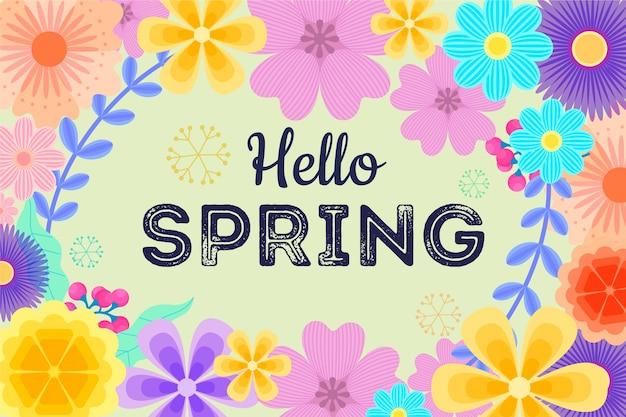 Witaj Wiosna Napis Z Ramą Kwiatowy Tło Darmowych Wektorów