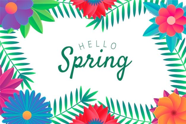 Witaj Wiosna Napis Z Ramą W Kwiaty Darmowych Wektorów