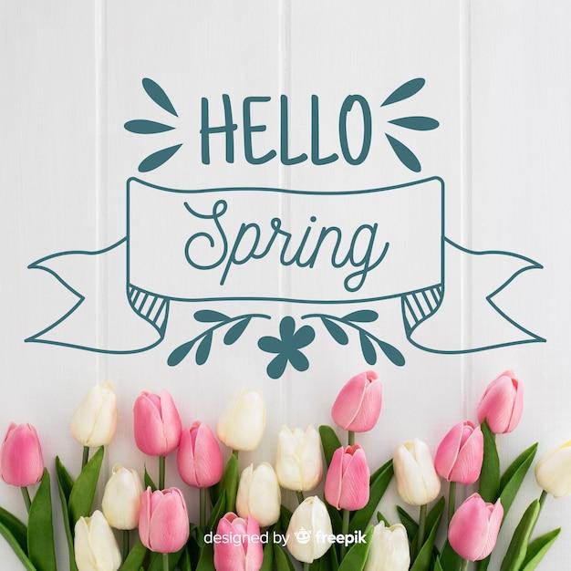 Witaj Wiosna Napis Ze Zdjęciem Premium Wektorów