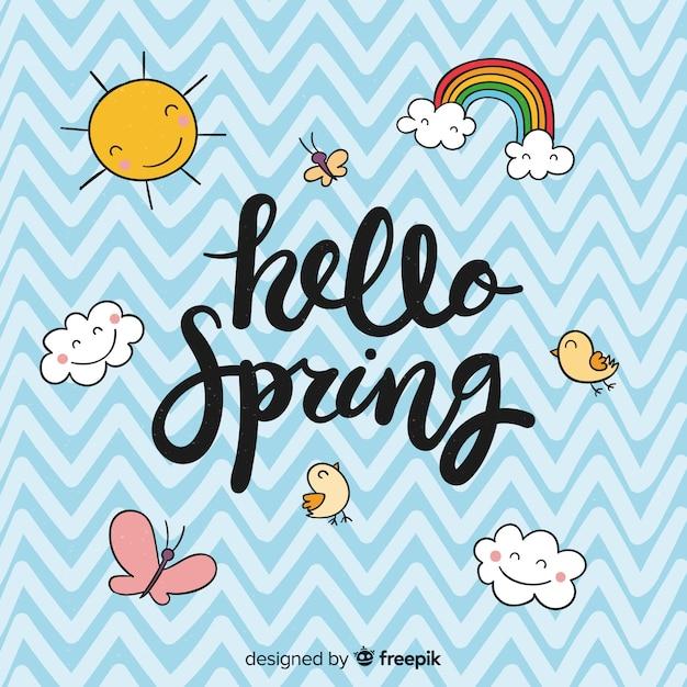 Witaj wiosna napis Darmowych Wektorów