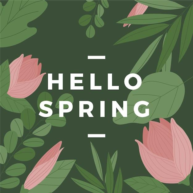 Witaj Wiosna Z Tulipanami Darmowych Wektorów