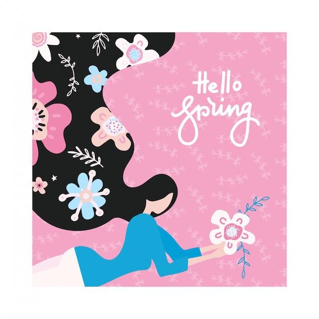 Witaj Wiosno. Szczęśliwa Dziewczyna Marzy O Wiośnie Z Włosami Pełnymi Kwiatów. Premium Wektorów