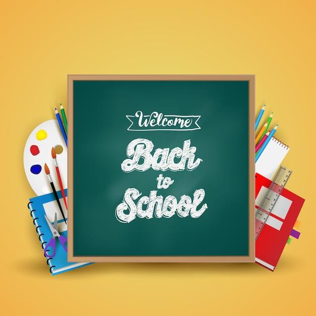 Witaj Z Powrotem W Szkole. Tło, Plakat I Szablon Premium Wektorów